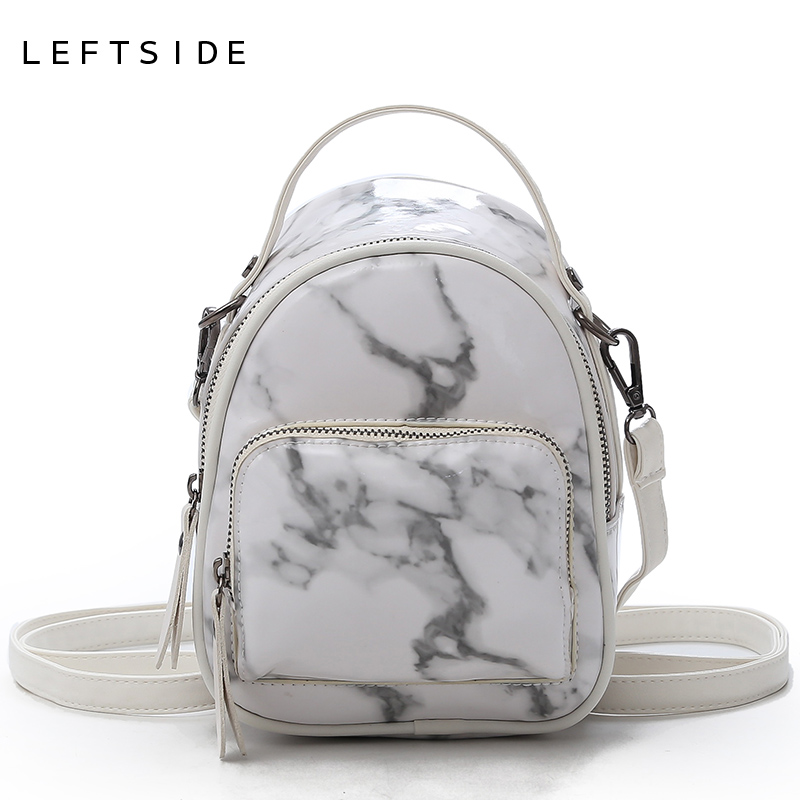 0c06ef6ae9 LEFTSIDE Marble Pattern Backpack Bags For Women 2018 Mini PU Leather  Bacpacks Female Small Back Pack Ladies Daypack For Travel-in Backpacks from  Luggage ...