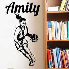 Customized Basketball Girl Name Wall Sticker Teen Room Personalized Sports Decal Bedroom Vinyl 3YD20