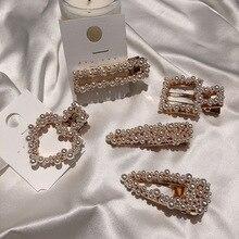 MENGJIQIAO coreano 2019 elegante corazón imitación perla horquillas chica maquillaje cuadrado horquillas nupcial boda cabello joyería accesorio
