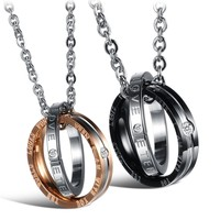 Unisex Black Stainless Steel 2 Circles Cross Metal Necklace Hollow Pendant Biker Necklace Steel Color Free Chain Party Jewelry