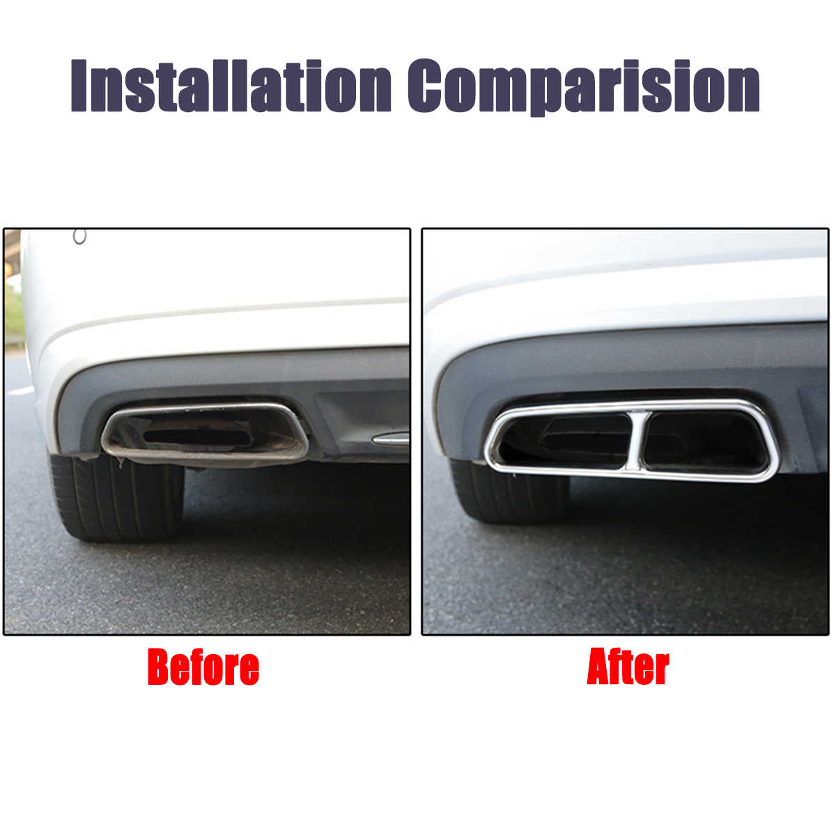 Rear Dual Exhaust Muffler Tail Decor End Pipe Tip Cover Trim For Audi A6 C7  2012 2013 2014 2015 2016 2017 2018 Only Decoration
