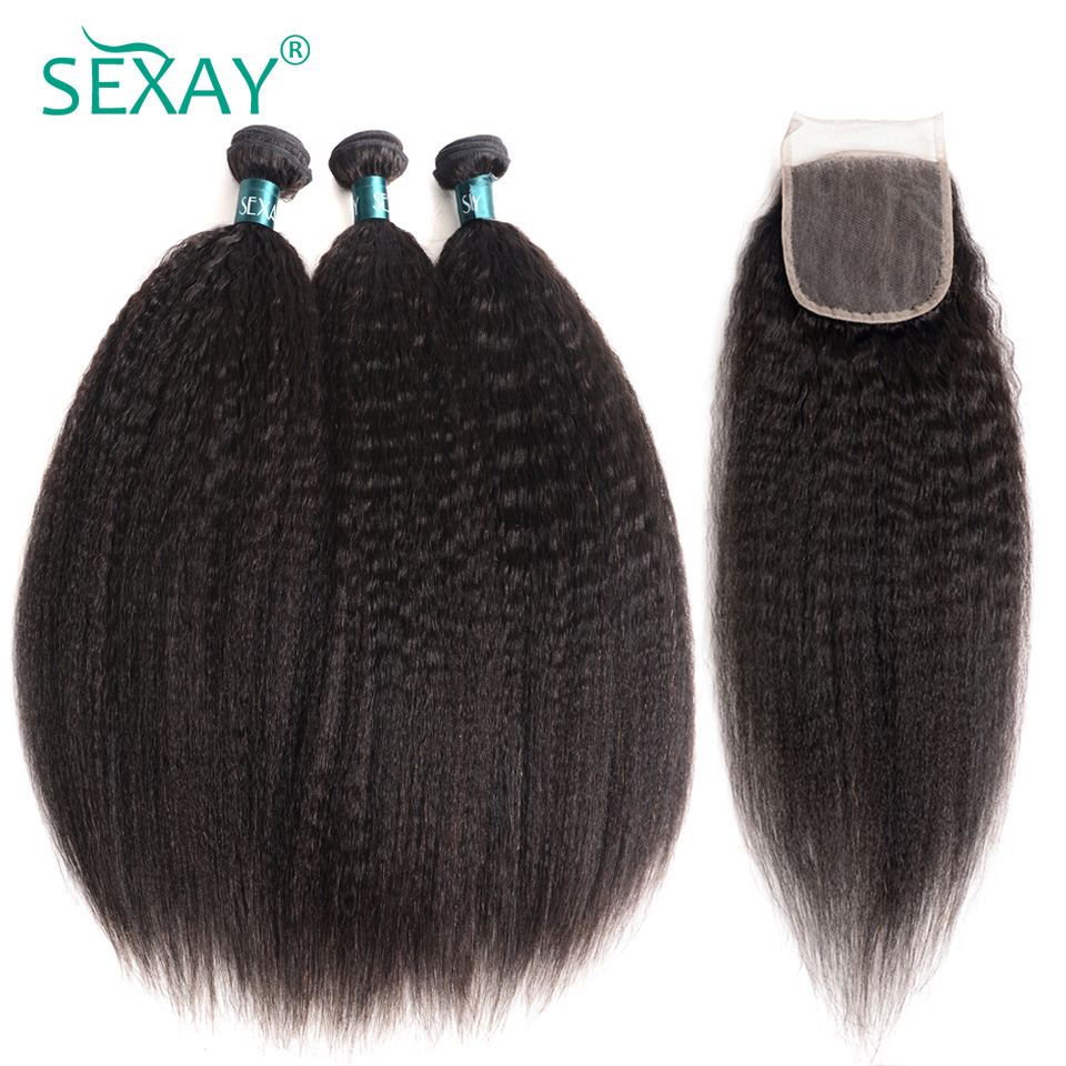 Sexay Coarse Yaki Peruvian Human Hair 3 Bundles Pack With Lace Closures Pre Colored Remy Kinky
