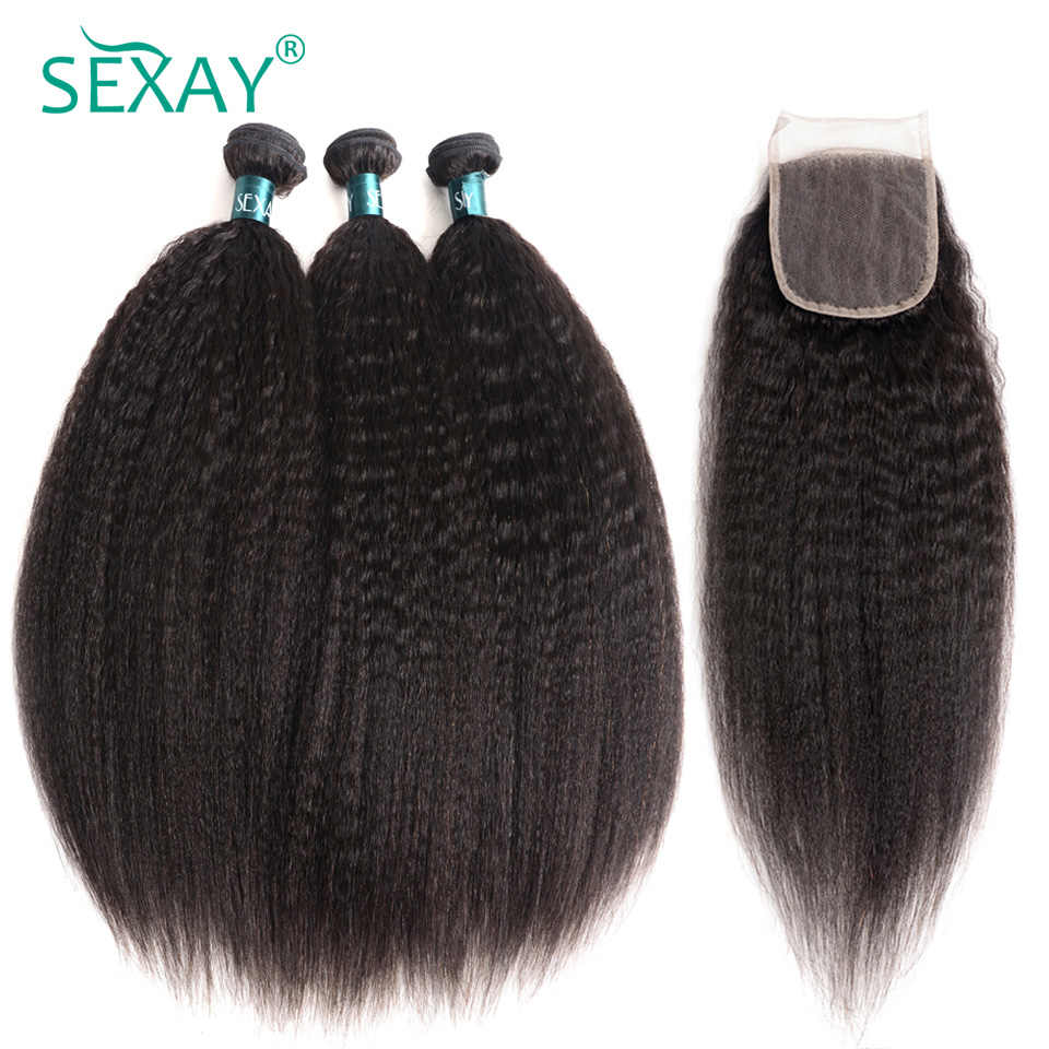Sexay Coarse Yaki Peruvian Human Hair 3 Bundles Pack With Lace Closures Pre-Colored Remy Kinky Straight Hair With 4x4 Closures