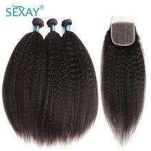 Sexay-Paquete de 3 mechones de cabello humano peruano Yaki grueso, con cierres de encaje, cabello liso Remy precoloreado con 4 Cierres