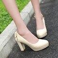 De gran tamaño 34-43 bombas de las mujeres zapatos de tacón grueso de las mujeres de alta tacones elegantes zapatos de las mujeres con arco plataforma bombas de novia de la boda zapatos