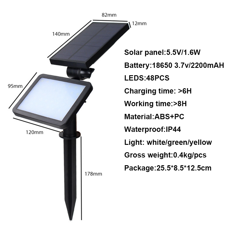 New scenery 48LED outdoor lighting on solar energy lamp powered garland LED floodlights solar spotlight with outdoor sensor in Solar Lamps from Lights Lighting
