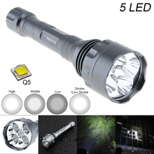 Waterproof 10W Q5 LED Flashlight 1500 Lumens 300M Range and 5 Modes Light Support 18650 Rechargeable Battery waterproof 10w q5 led flashlight 1500 lumens 300m range 5 modes light support 18650 rechargeable battery