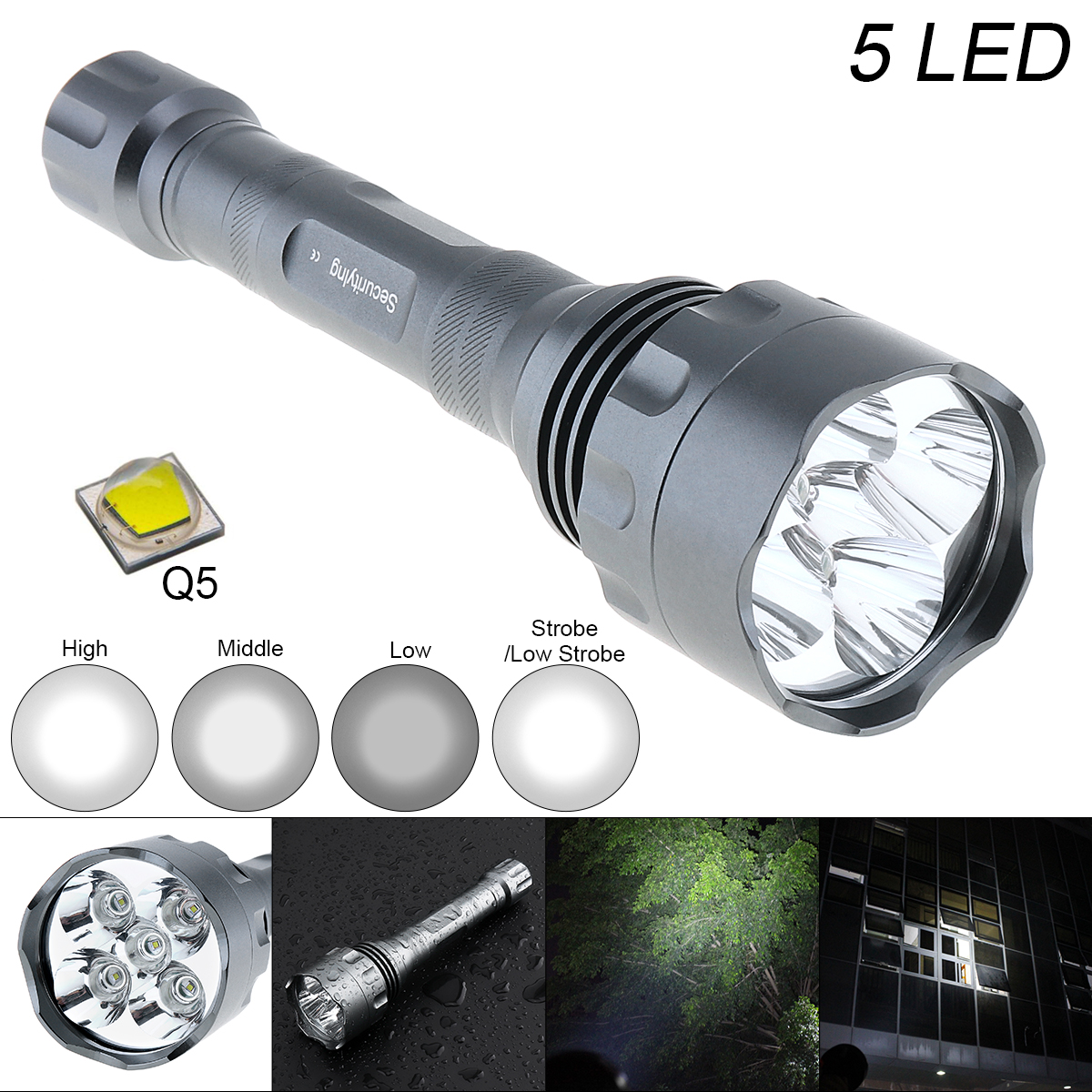 Waterproof 10W Q5 LED Flashlight 1500 Lumens 300M Range and 5 Modes Light Support 18650 Rechargeable Battery