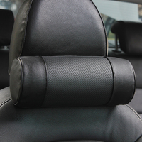 Genuine Leather Car Seat Headrest Pillows Auto Safety Cylindrical Black Neck Support Cover Cushion Memory Bone