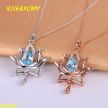 KJJEAXCMY boutique jewels 925 pure silver, Necklace of natural Topaz Blue Lotus powder stone pendant drop female send chain