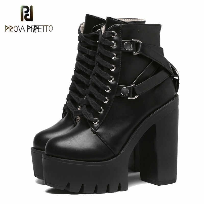 Prova perfetto Moda siyah çizmeler Kadın Topuk Bahar dantel-up Yumuşak Deri platform ayakkabılar Kadın Parti yarım çizmeler Yüksek Topuklu