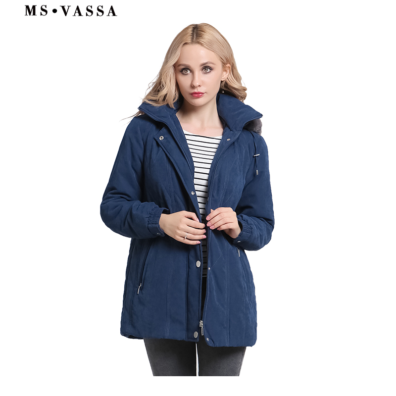 MS VASSA Ladies Parkas New Autumn Winter padded Women jacket detachable hood nice faux fur plus