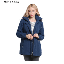 MS VASSA Ladies Parkas New Autumn Winter padded Women jacket detachable hood nice faux fur plus size 7XL casual outerwear