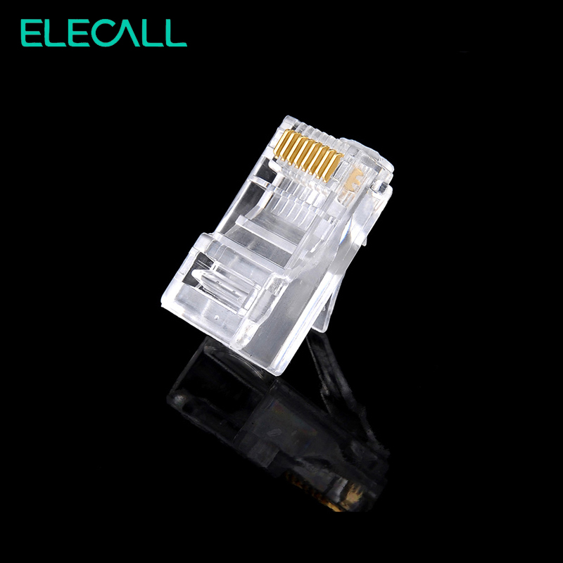 ELECALL 100pcs 8 Pin RJ45 Modular Plugs Socket Network Ethernet Crystal Plug Connector Adapter