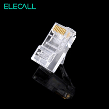 цены ELECALL 100pcs 8 Pin RJ45 Modular Plugs Socket Network Ethernet Crystal Plug RJ45 Connector Adapter