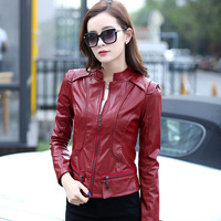 Plus Size Clothing New Arrival Winter Outerwear Female Short Design Small Slim Motorcycle Leather Clothing PU