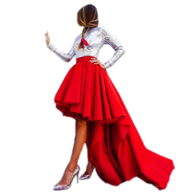 38736af99d High End Custom Made High Low Satin Long Skirt With Tutu Puffy Asymmetrical  Women Skirts For Formal Party Zipper Long Train