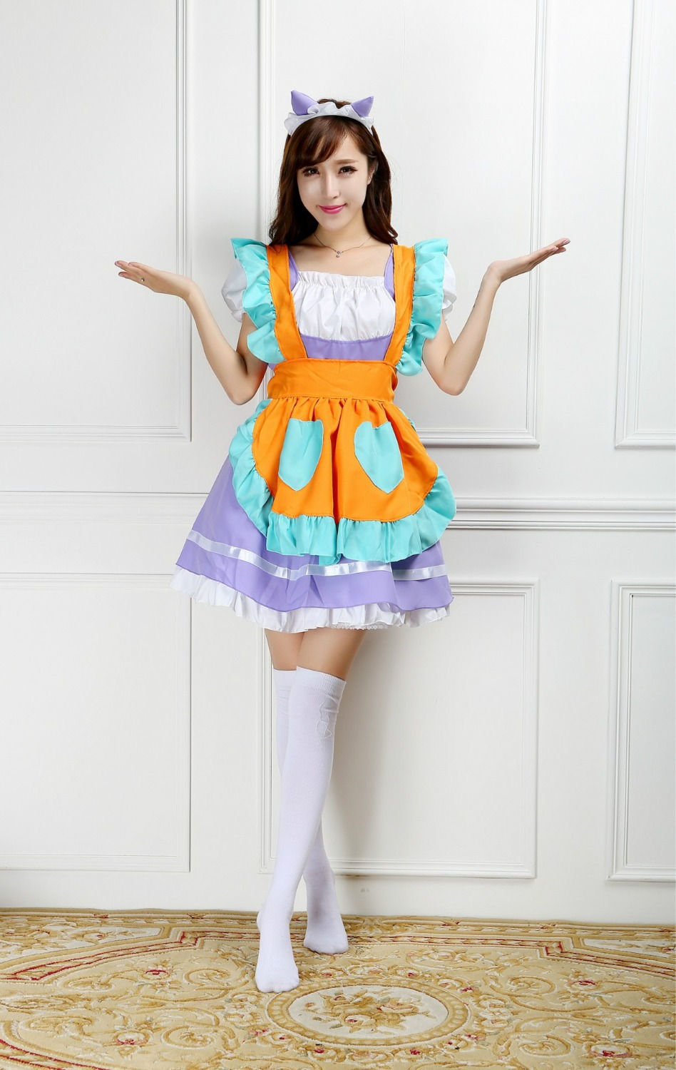 Ensen Lovely lolita purple dress cute uniform temptation maid skirt erotic fantasia women Halloween cosplay Costumes for Womens