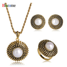 Fashion Women Round Simulated Pearls Jewelry Sets Pendant Necklace French Hooks Earrings Ring Set Women Party Anniversary Gift(China)