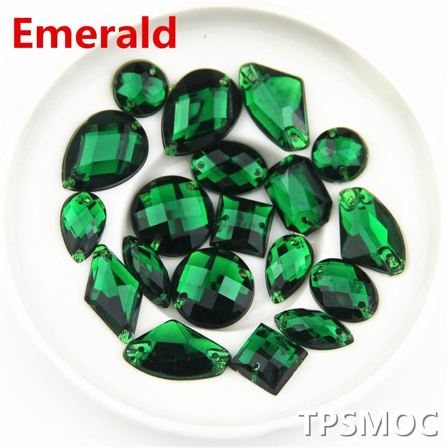 100pcs Аралас мөлшері Emerald Flatback Rhinestone Акрилді тастарды ринстондағы тігу үшін