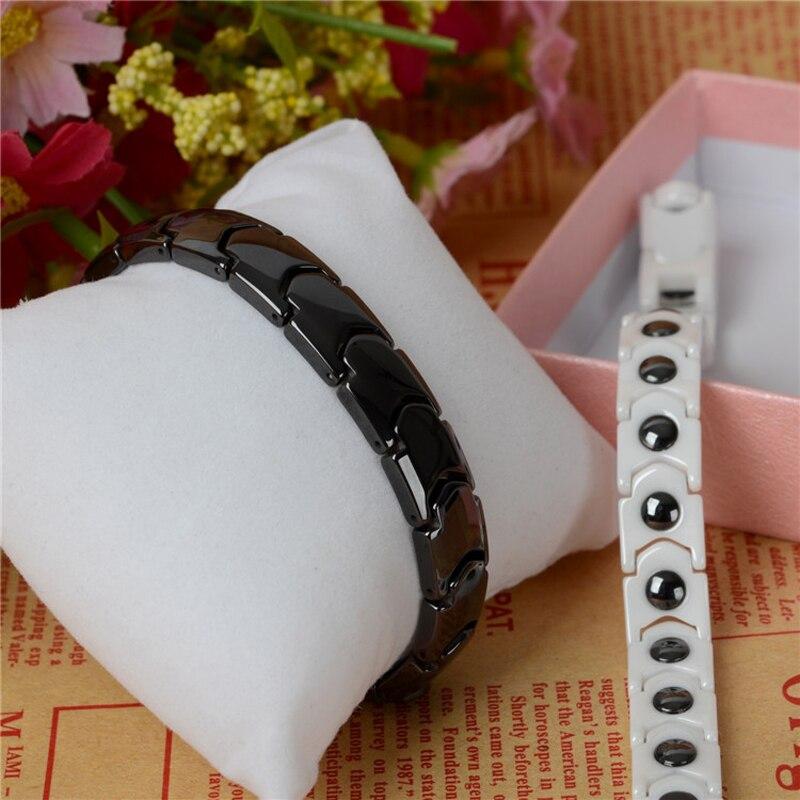 Hottime Black White Keramiska Magnetiska Terapi Armband Bio Element - Märkessmycken - Foto 2