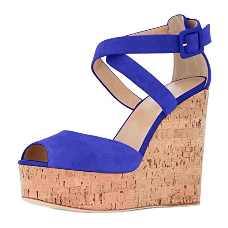 Libre Shofoo Hermosa Alto Del marrón Correo Cm amarillo De 34 rojo azul Ante Zapatos Negro 5 Tamaño Peep verde 45 Sandalias Manera 14 Toe Tacón 45qpwxqtX