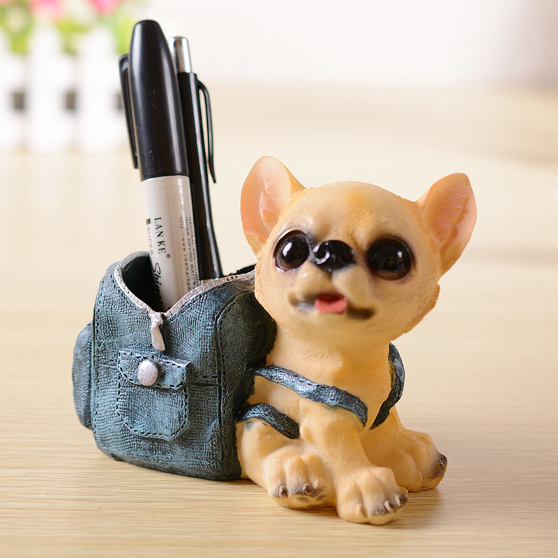 Happy Puppy Dog Pen Holders Kids Toy Resin Crafts Pencil