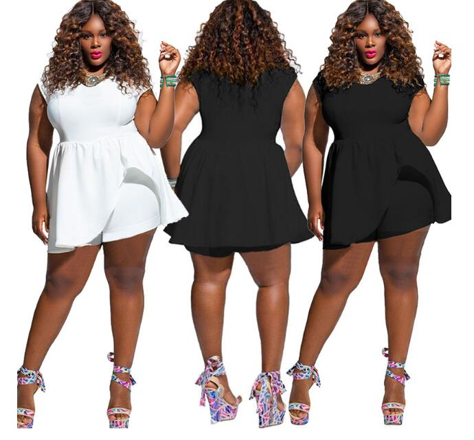 Ladies Jumpsuit Women Short Sleeve Solid Color Large Size Loose Fat Womens Romper Playsuit NEW