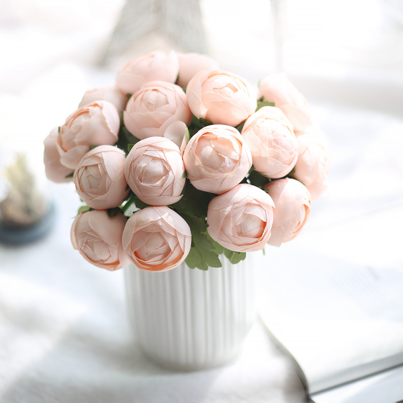 European 7 Heads Rich Rose 1 Bouquet Painting Peony Artificial Vivid Peony Silk Flowers Fake Leaf Wedding Home Party Decoration