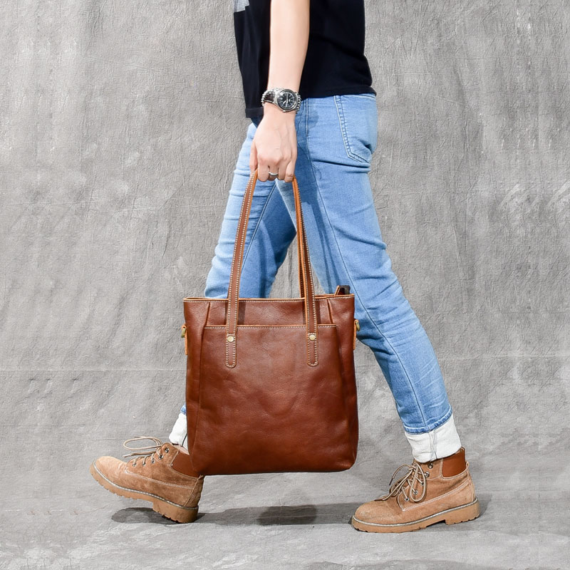 Unisex vintage Genuine leather Women and men Handbags tote bag female leather shoulder bags large capacity shopping bags