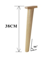 4Pieces/Lot  H:38CM Diameter:3.5-5cm Rubber Wood 80 degree Sofa Legs Solid Table Feet