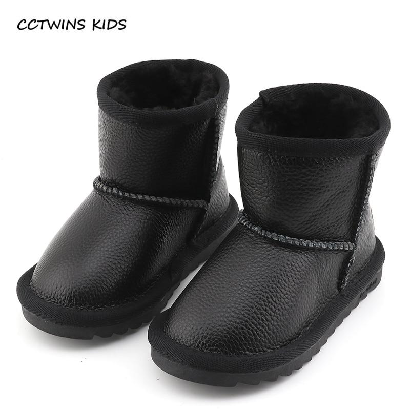 CCTWINS KIDS 2017 Toddler Genuine Leather Boot Baby Girl Kid Brand Slip On Warm Pink Children