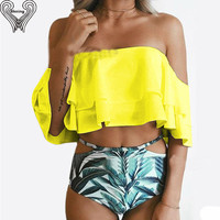 Plus Size Off The Shoulder Bikini Set Sexy Ruffle Bikinis 2017 Print Swimwear High Waist Swimsuits