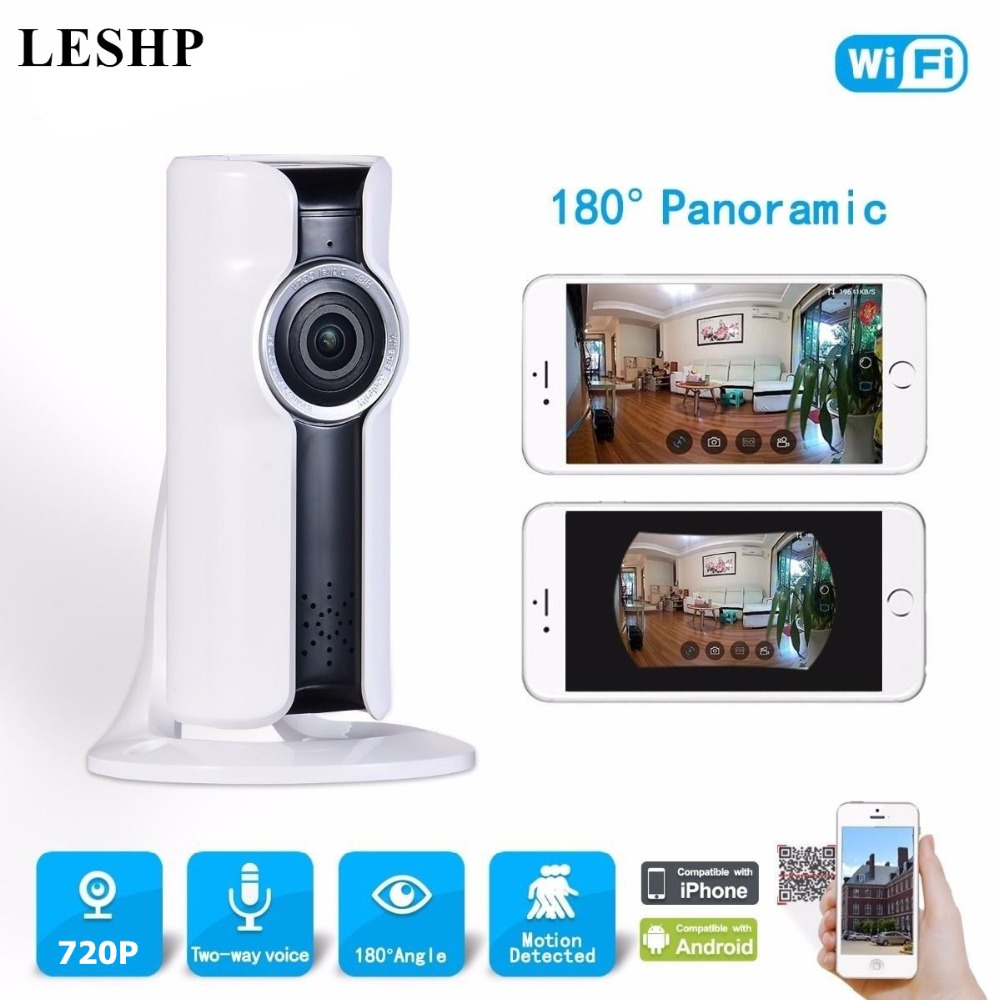 Wireless WIFI IP Camera HD 720P Night Vision 180 Degrees Wide Angle Lens CCTV Home Security Camera Support Two-way Intercom
