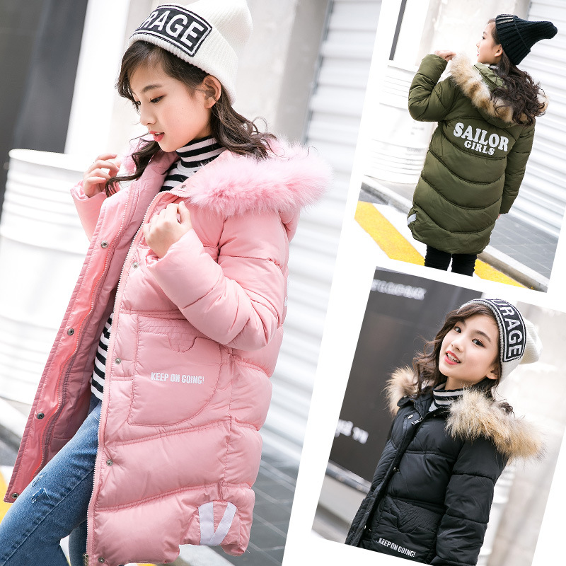 New Winter Children Outerwear & Coats Girls Long Parkas Winter Jackets Hooded Cotton Padded Baby Kids Warm Clothes 4- 12 Years 2017 new long hooded winter wadded parkas slim warm padded female jackets thick overcoat outwear winter cotton coats fp0025