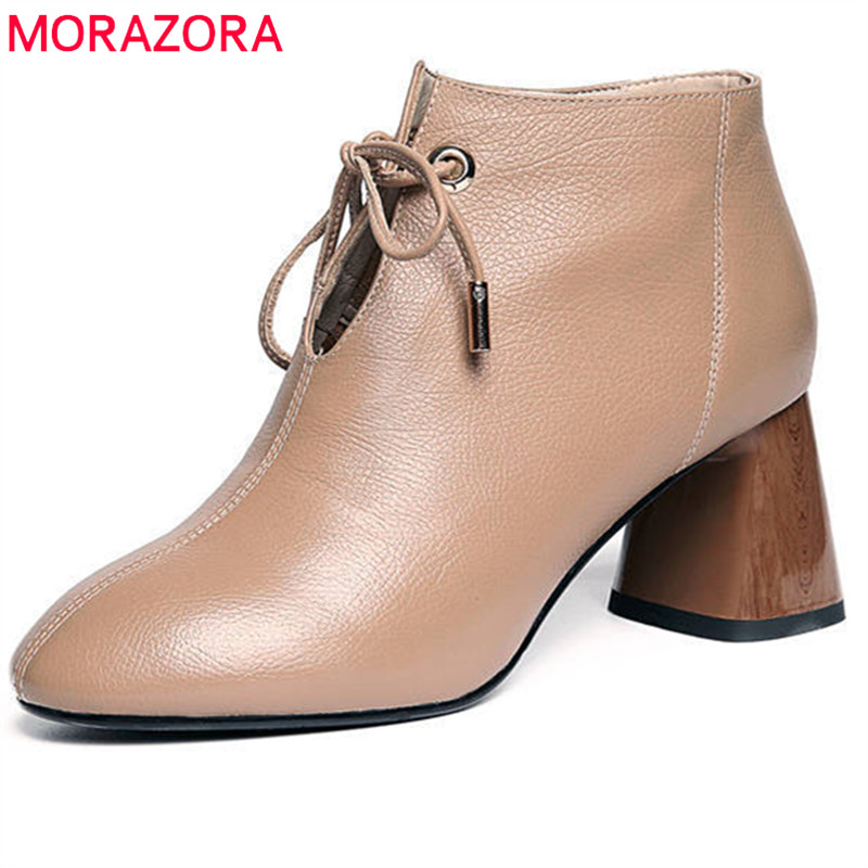 MORAZORA 2018 top quality genuine leather boots round toe lace up simple spring autumn ankle boots women high heels shoes цена