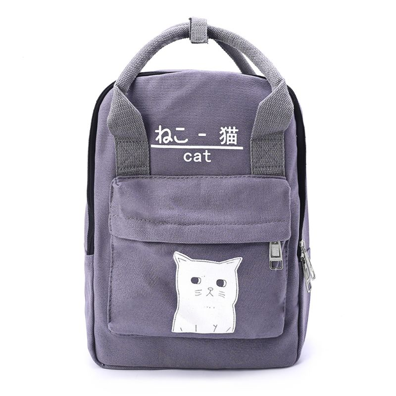 Cute Cat Design Solid Color Canvas Casual Daypack School Bags Travel Backpack Rucksack for Teenager Girls