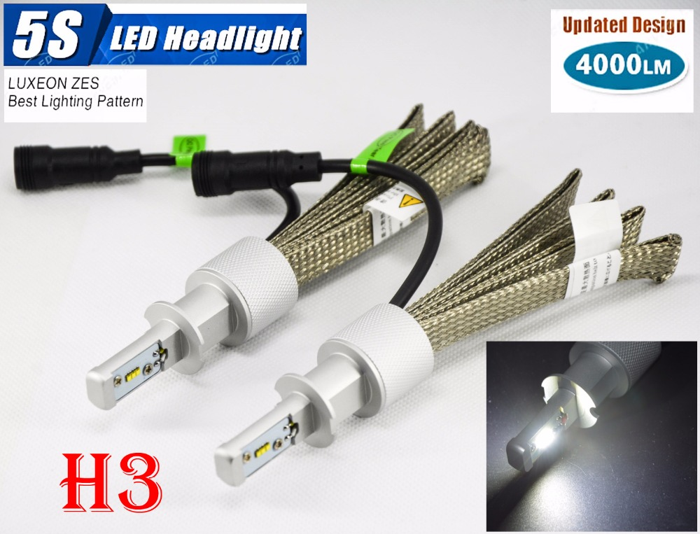1 Set H3 50W 4000LM 5S LED Headlight Kit LUMILED LUXEON ZES 12LED SMD Chip Fanless 6500K Driving Fog Lamp Bulb HID Xenon Halogen 1 set 9012 hir2 50w 4000lm 5s led headlight kit lumiled luxeon zes 12led smd chip fanless 6500k driving fog lamp bulb hid haloge