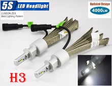 1 Set H3 50W 4000LM 5S LED Headlight Kit LUMILED LUXEON ZES 12LED SMD Chip Fanless 6500K Driving Fog Lamp Bulb HID Xenon Halogen