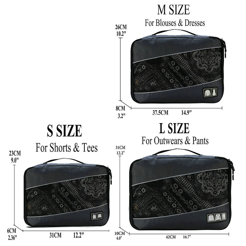 Soperwillton упаковочные кубики, нейлоновая дорожная сумка-Органайзер, Воздухопроницаемая сетчатая дорожная сумка для мужчин и женщин, органайзер для путешествий - Цвет: Gray S-M-L