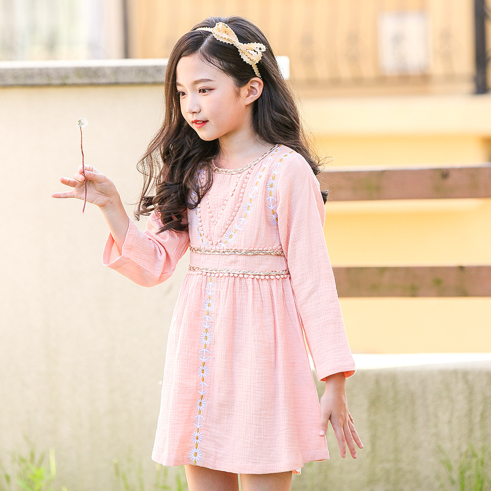 girls autumn dress elegant kids dresses for girs long sleeve party princess children clothes 2018 teen girl linen fall dress цена