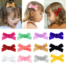 Fashion Baby Hair Clips  Color Bows band For Girls Soft Velvet Accessories Hairpins 2Pcs/set