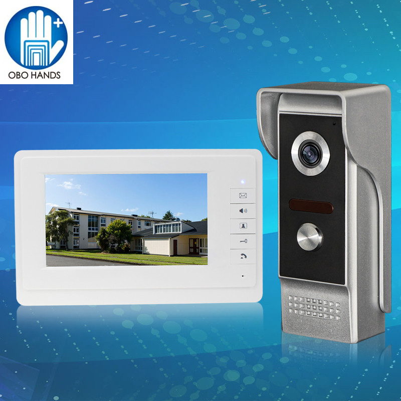New 7inch TFT-LCD Color Video Door Phone Monitor Screen with IR COMS Outdoor Camera for Intercom System Fast Shipping 7 inch video doorbell tft lcd hd screen wired video doorphone for villa one monitor with one metal outdoor unit rfid card panel