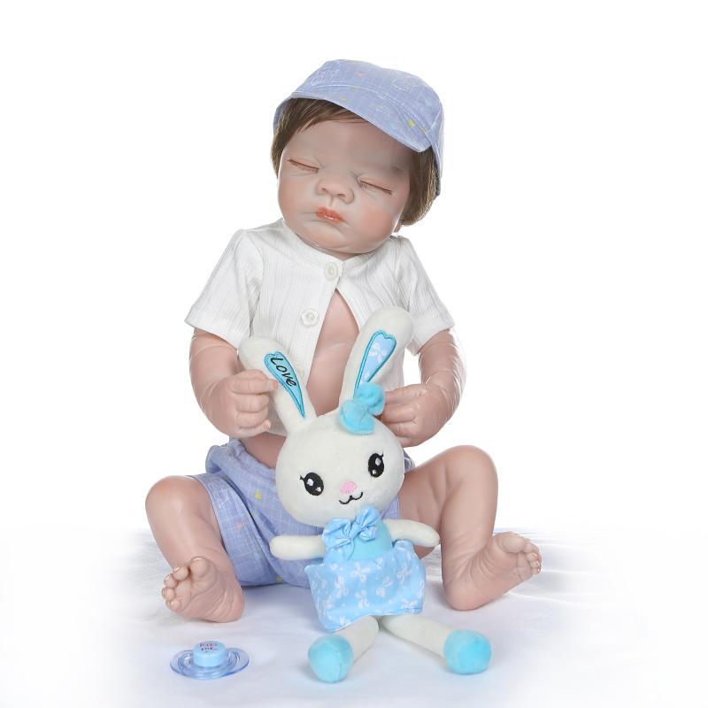 Bebes reborn muñeca de 20 pulgadas 53 cm de silicona renacer muñecas del bebé com corpo a corpo de silicona niño muñecas del bebé regalos de Navidad- o l