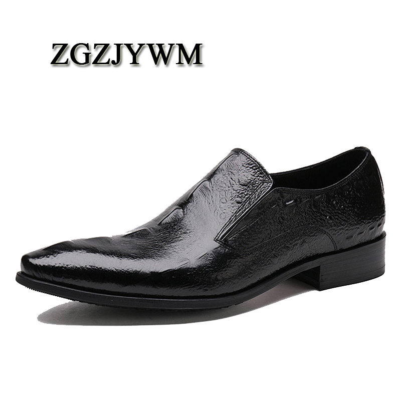 ZGZJYWM Fashion Comfortable High Quality Genuine   Leather   Crocodile Pattern Spring/Autumn Slip-On Pointed Toe Flat Man Shoes