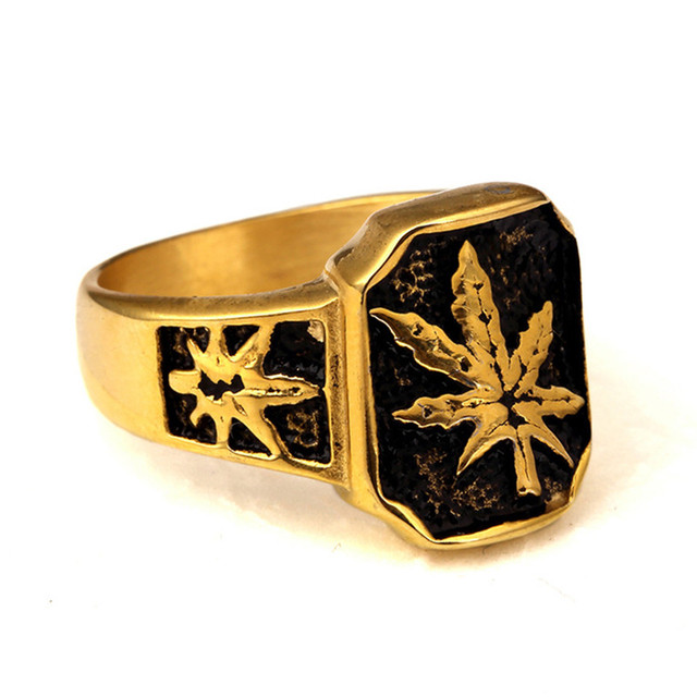 Men s High Polish Toronto Maple Leaf Ring Stainless Steel Hemp Leaf  Championship Jewelry Hip Hop Ring Size 9-11 586883dd687a