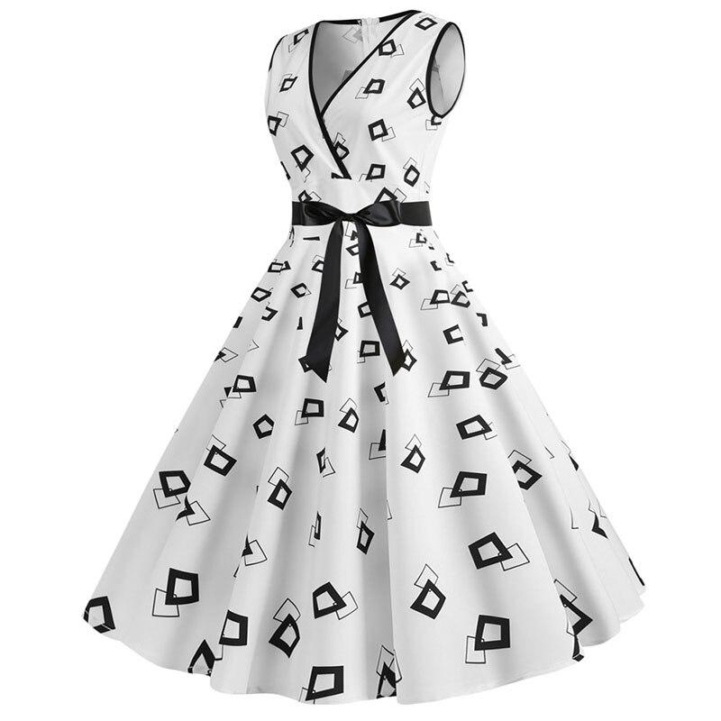 Plus Size Women Dress 2020 Summer Casual Sleeveless V Neck Print Slim Office Party Dress Dresses Elegant Vintage Vestidos Robe 2