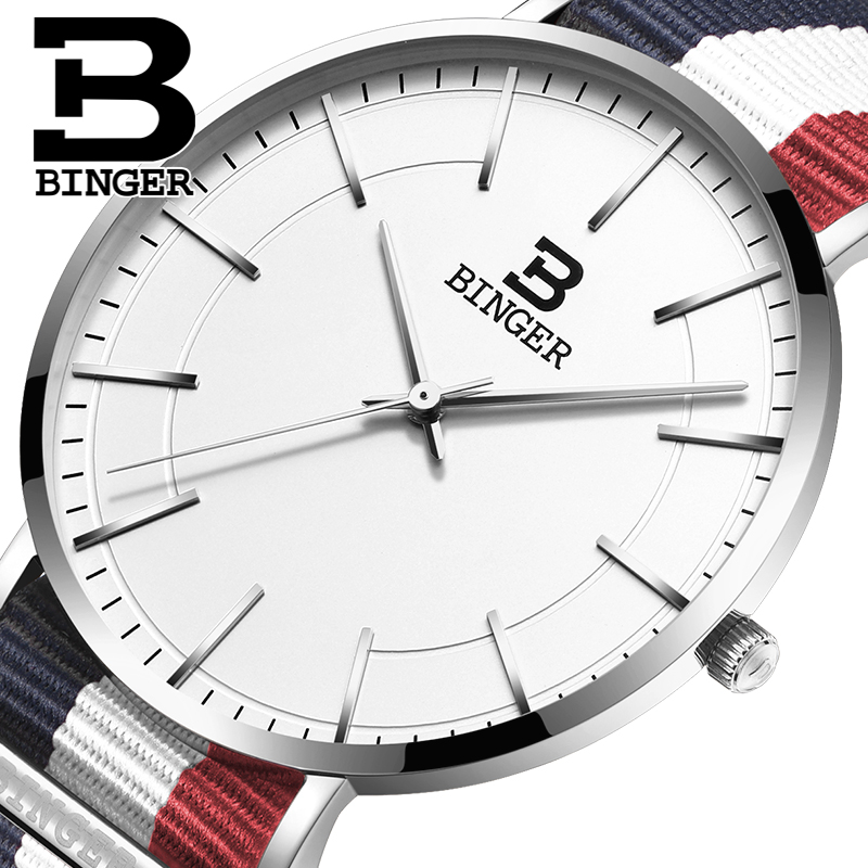 Switzerland BINGER men watches luxury brand ultrathin limited edition Waterproof lovers s quartz Wristwatches B 3050M
