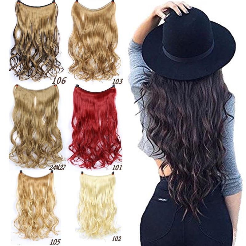AOSIWIG Långt hår Fisklinje Vågigt hårförlängningar Hemliga - Syntetiskt hår - Foto 1