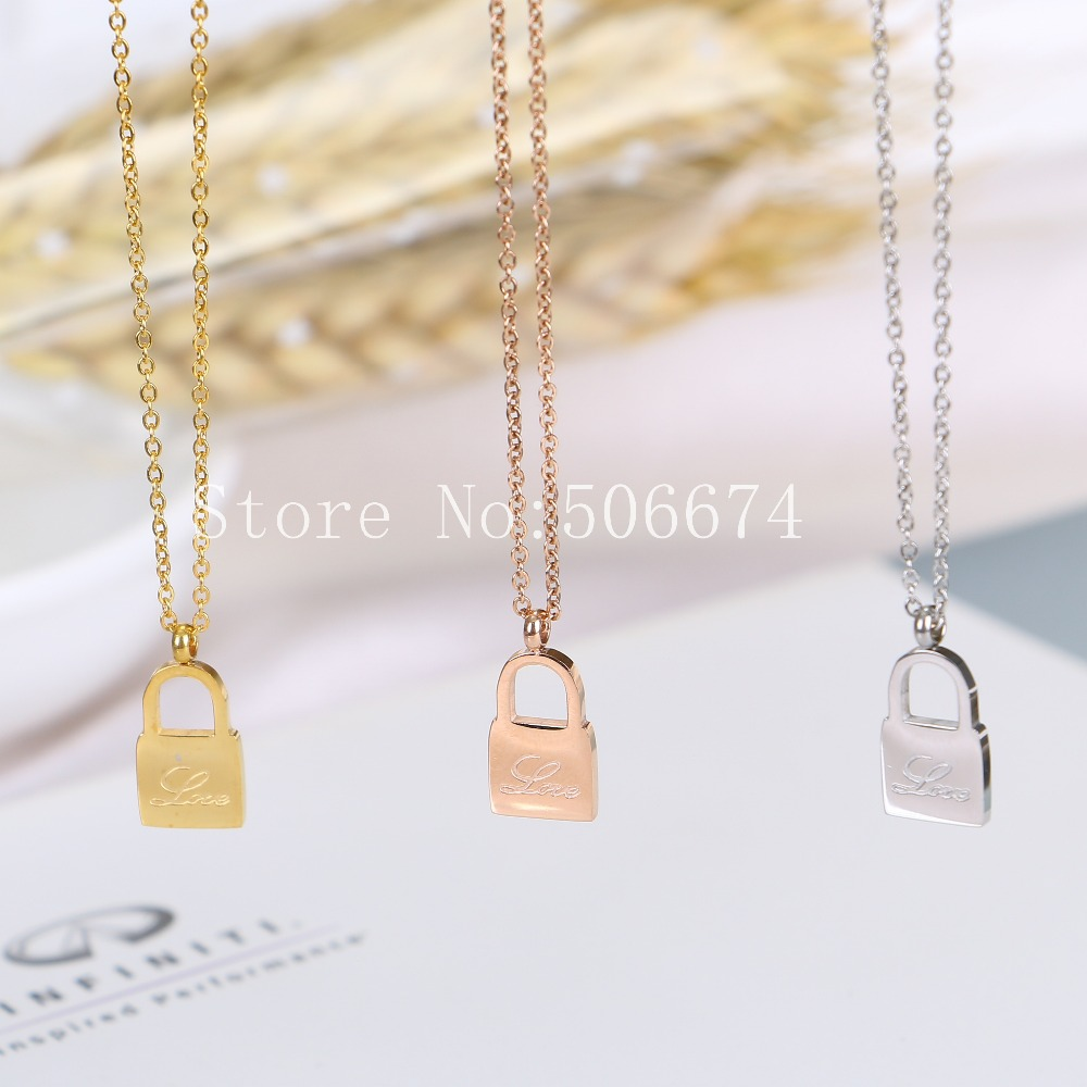 Stainless Steel Choker Cute Lock love Carter Chain Necklace Pendant For Women Lovers Bridesmaid Gifts